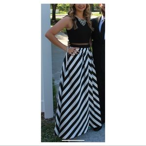 Stripped formal gown